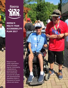 Thumbnail image for the accessible PDF version of Reena's Multi-Year Accessibility Plan, featuring two individuals supported by Reena celebrating at our summer carnival